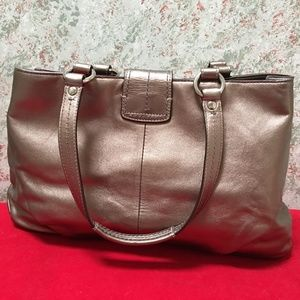 Coach Bags - COACH Bronze Leather SOHO BUCKLE Carry All Tote